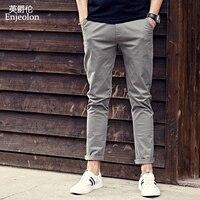 Enjeolon marca 2017 base de calças compridas Em Linha Reta calça casual homem, moda fit K6239 cáqui preto Calças masculinas frete grátis