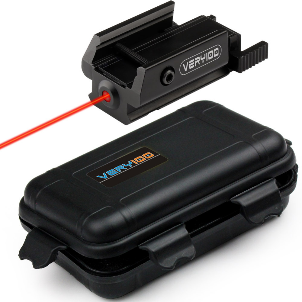 VERY100 Red Dot Laser Sight Taktis Picatinny Weaver Rail Mount 20mm Pistol Gun Compact w / Kasus