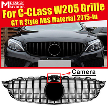 W205 Sports Grille Mesh GTS Style ABS Material Black Grill Fits For C180 C200 C230 C250 C280 C300 Grills with Camera 2015+