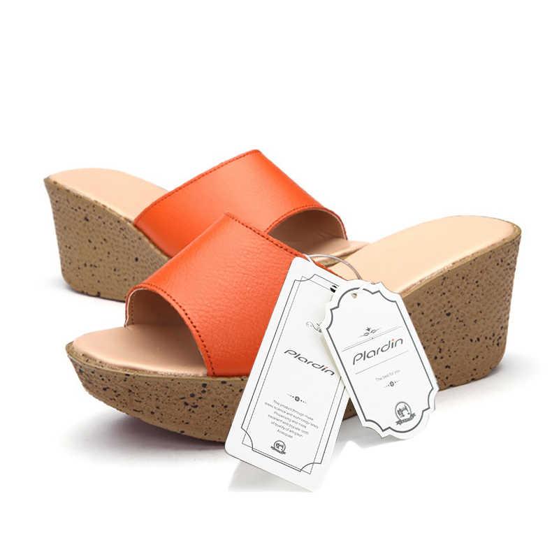 Plardin Yeni Hakiki Deri Bohemia Yaz Rahat Eğlence kadın platform sandaletler Takozlar plaj ayakkabısı Kadın bayanlar ayakkabı