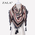 ZALA Fashion Women Big Square Printing Tassels Autumn Winter Retro Scarf Cotton india floural Headband Wraps Foulard Femme 110cm