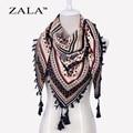 ZALA Moda Mujeres Big Square Borlas de Impresión Otoño Invierno Retro Bufanda de Algodón india floural Diadema Envuelve Foulard Femme 110 cm
