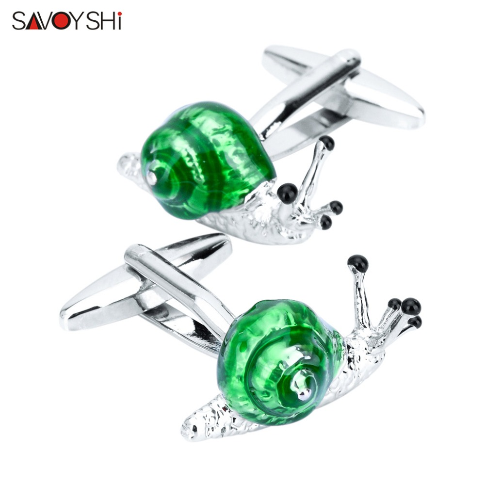 SAVOYSHI Shirt Cufflinks For Mens Cuff Buttons High Quality Funny Animal Snails Cuff Links Brand Jewelry Free Engraving Name