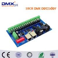 Envío Libre 18CH DMX Controlador DMX512 Decodificador Dimmer tiene (XLR y RJ45) Para RGB LLEVÓ la Tira Módulo Controlador DC 12-24 V