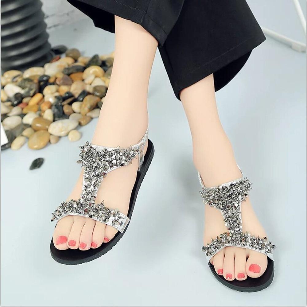 Women's sandals with bling - Elegant Women Sandals Bling Shoes Siketu Women Shoes Comfort Sandals Summer Flip Flops Fashion Flat Gladiator
