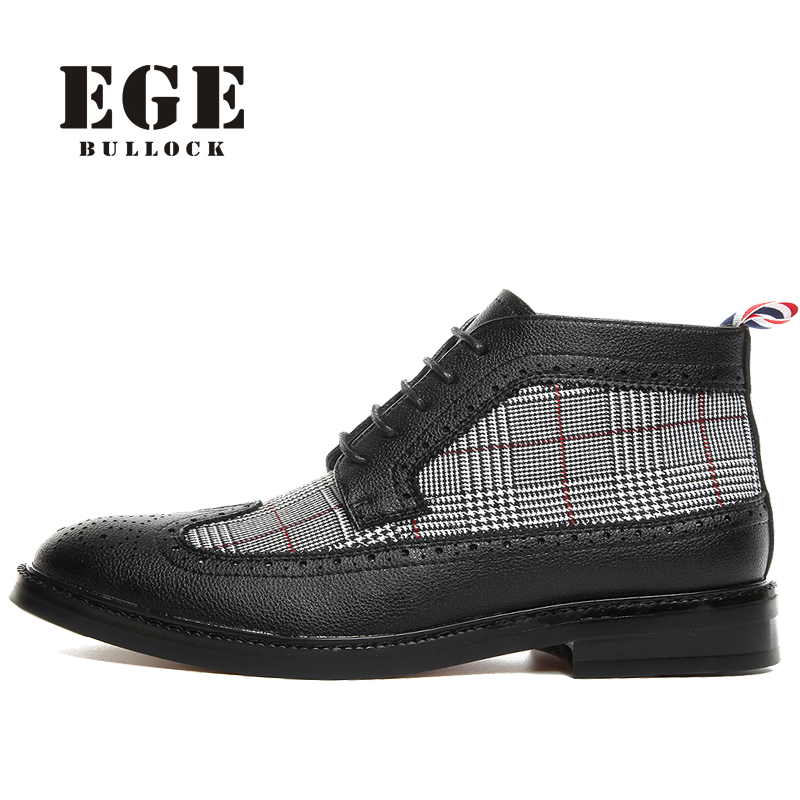 EGE Brand Men Oxfords Fashion British Style Genuine Leather Office Autumn Boots High Quality Pionted toe Ankle Shoes for Men