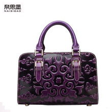 2016 New genuine leather women bag famous brands embossing chinese style retro quality women leather handbags shoulder bag