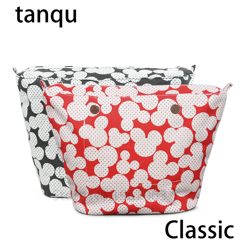 tanqu 2018 new Classic floral waterpoof zip inner pocket for Obag lining Insert for O bag women handbag new colorful cartoon floral insert lining for o chic ochic canvas waterproof inner pocket for obag women handbag