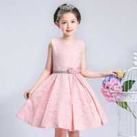 New Summer Vest Girls Dress 4 To 12 Years Kids Princess Party Bow Tutu Dress Clothes