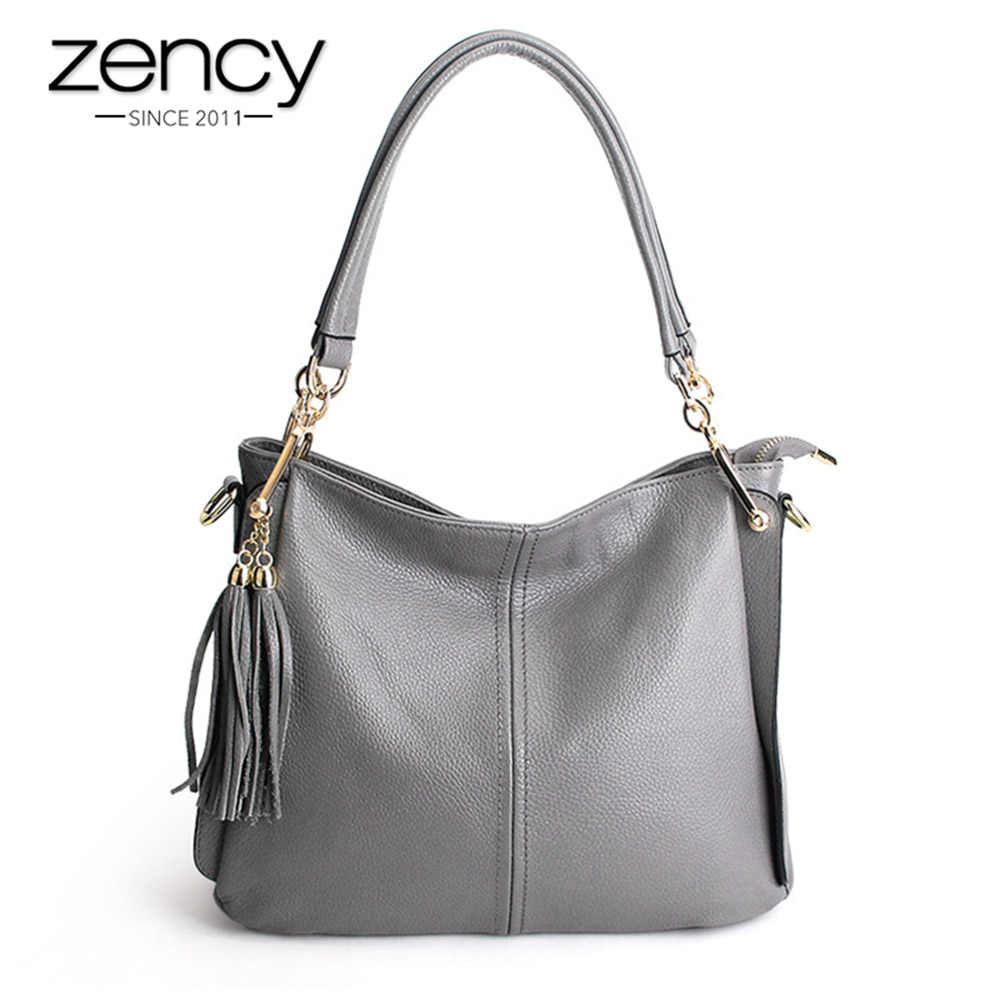 Zency/женская сумка на плечо с кисточками; 100% натуральная кожа; элегантные сумки через плечо; женская сумка-мессенджер; сумка-хобо; цвет серый, черный