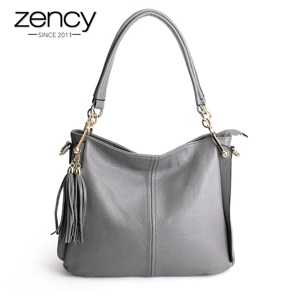 Zency Tassel Women Shoulder Bag 100% Genuine Leather Handbag Elegant Crossbody Bags Ladies Messenger Purse Hobos Grey Black