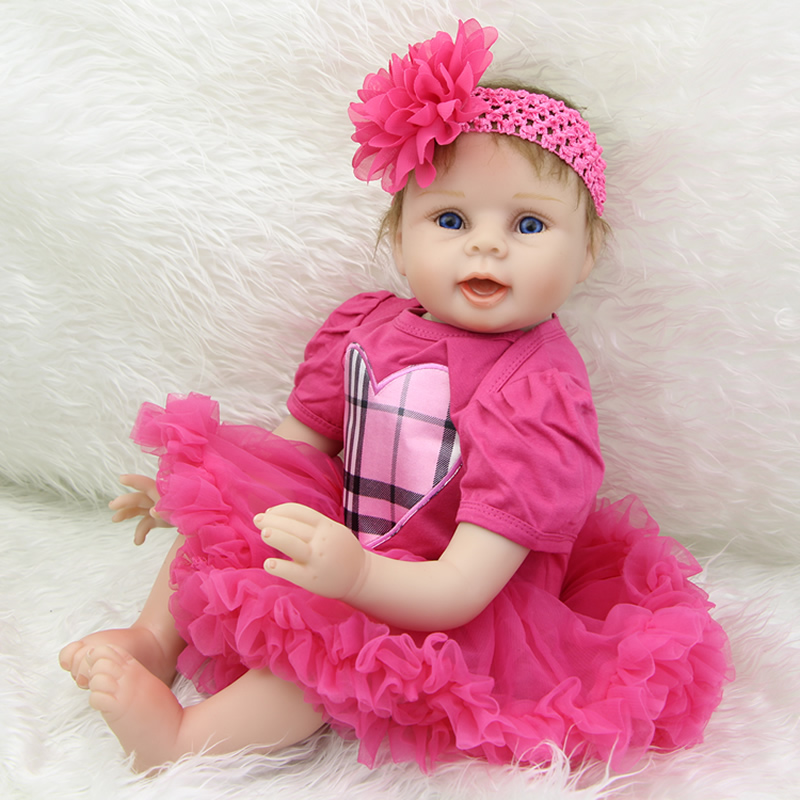 New Style 22 Inch Silicone Reborn Baby Dolls Realistic Newborn Girls Wearing Heart Dress Children Birthday Xmas Gift handmade 22 inch newborn baby girl doll lifelike reborn silicone baby dolls wearing pink dress kids birthday xmas gift