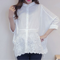 Cotton Pregnant Women Tops Lace White Shirts Fashion Solid Embroidery Maternity Blouses Summer Elegant Maternity Party Clothes
