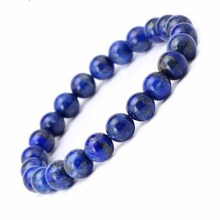 KYSZDL Natural crystal bracelet Lapis 8MM round bead Womens Buddha beads jewelry wholesale