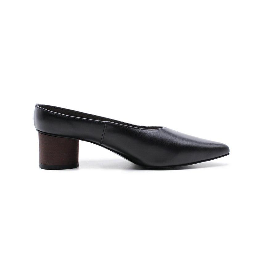 40 Pompes Pu Printemps Sur Carrés Taille Talons 2018 Et Bout Slip Esveva Pointu blanc 34 Automne Noir Pour Femmes Chaussures Nouveauté Med 5HwtxXzBq