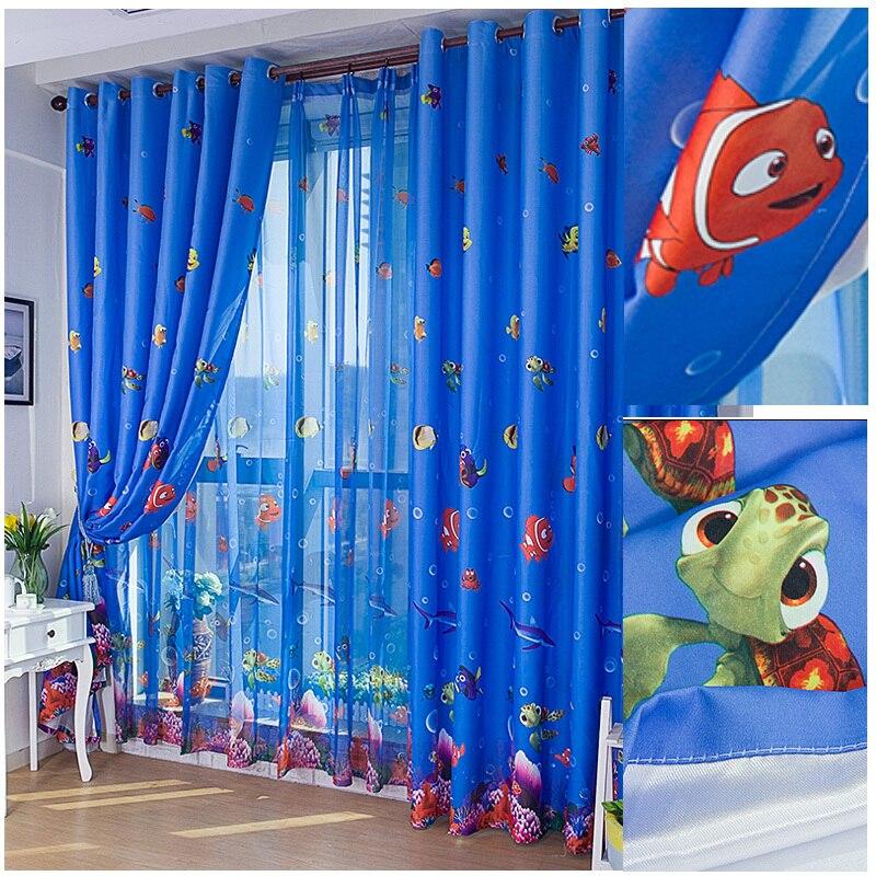 Blue Enviroment Friendly Child Cartoon Curtain For Bedroom