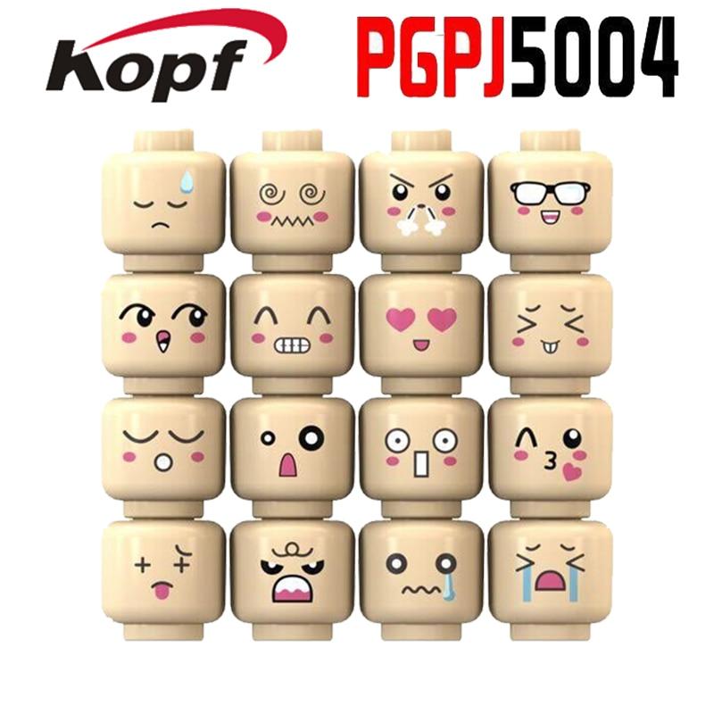 16Pcs/Set Super Heroes Cartoon Cute Face Emoji Expression Skin Color Building Blocks Children Collection Toys Gift PGPJ5004