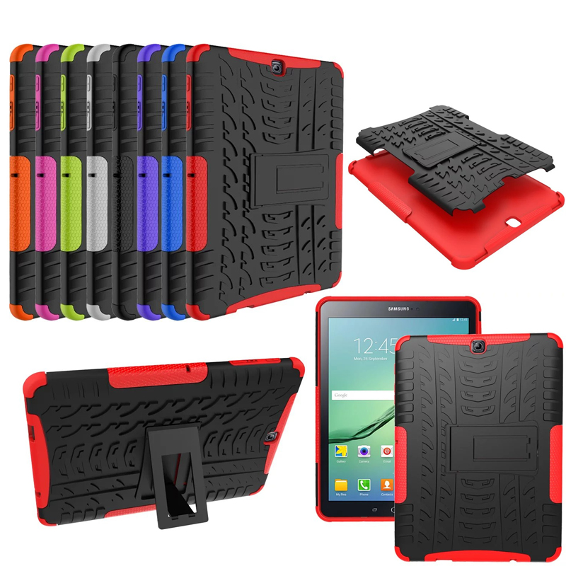 HH Heavy Duty Armor Tire Style Hybrid TPU PC Hard Cover Case for Samsung GALAXY Tab S2 9.7 SM T810 T815 T813 T819 tablet PC tire style tough rugged dual layer hybrid hard kickstand duty armor case for samsung galaxy tab a 10 1 2016 t580 tablet cover
