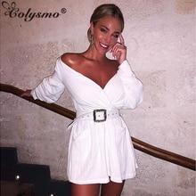 Colysmo Shirt Dress Women Long Sleeve Sexy White 2019 Fashion Autumn Vintage Pocket Belt Summer Dresses