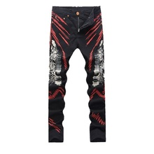 2016 New printed Coloured drawing&pattern Nightclubs Jeans men, casual pants men,plus-size 28-38