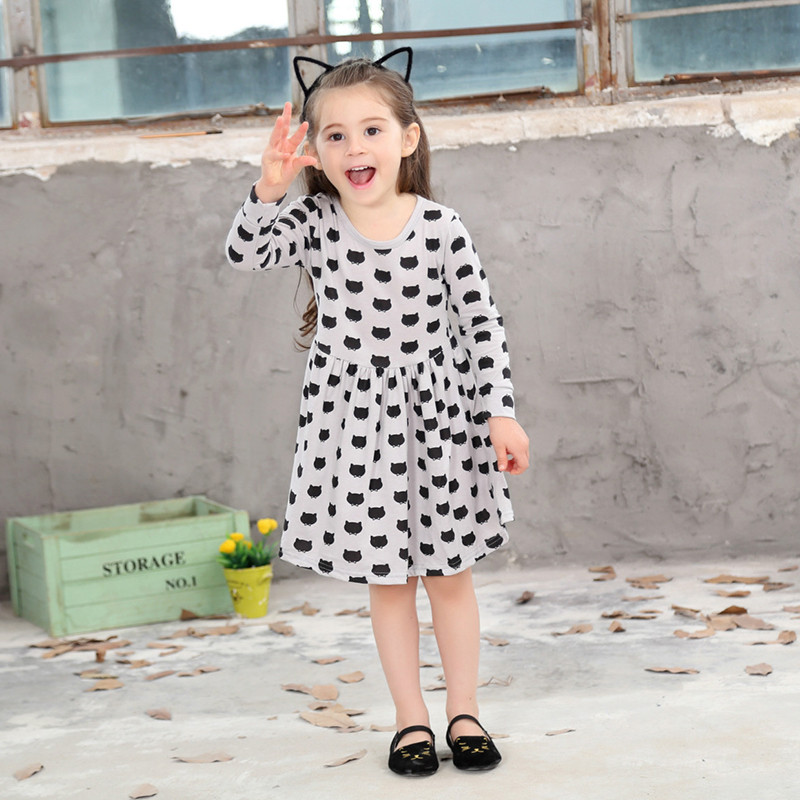 Girls-black-dress-cartoon-long-sleeved-black-stamp-elastic-pleated-Zou-comfortable-dress-stitching-girl-dress-Cartoon-cat-dress-3