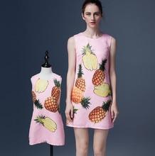 2016 мода фрукты печати платье Семья Соответствующие Наряды Мать И Дочь розовый платье принцессы Бесплатная Доставка
