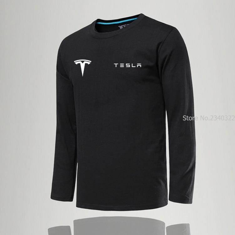 Новая модная однотонная мужская футболка Tesla с круглым вырезом, повседневная приталенная одежда с длинным рукавом, мужские хлопковые футбо...