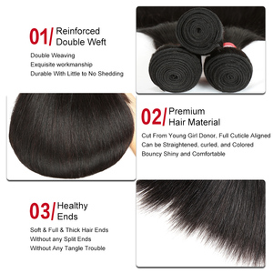 Image 3 - Sleek Brazilian Straight Hair Bundles With Closure Natural Color Hair Weave 8 28 30 Non Remy Human Hair 3 Bundles With Closure