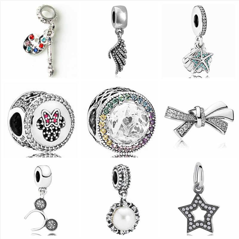Btuamb Maxi luksusowe kryształ gwiazda Bowknot skrzydła anioła symulowane Pearl wisiorek koraliki charm w stylu fit kobiety Pandora naszyjniki DIY biżuteria