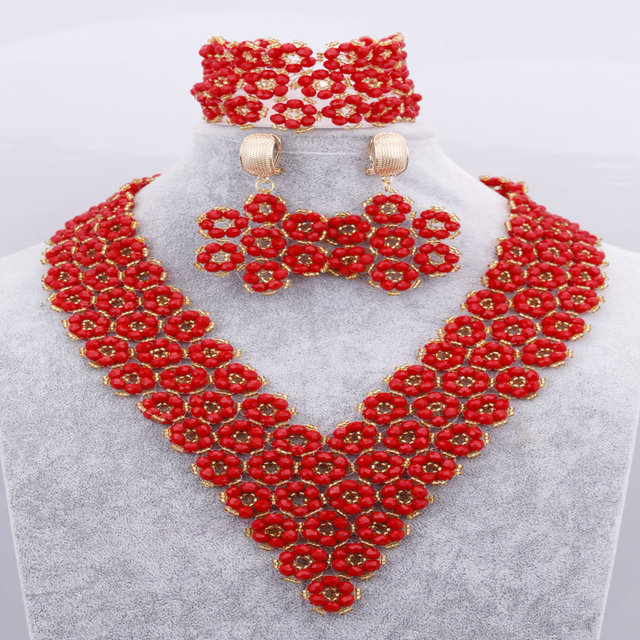 100% Handmade Red Flower Crystals Beads Jewelry Sets African Wedding Nigerian Beads Big Sage Bridal Necklace Free Shipping