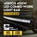 42 Inch 400 Вт Кри Чипсы 5D Светодиодные Бар Изогнутые Бар-типа Combo внешние Автомобильные Фары внедорожных Дальнего света ATV Для Jeep Hummer VW