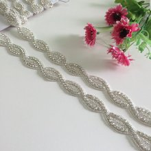 10 Yards Fashion Luxurious Handmade Rhinestone Silk Ribbon Pearl Crystal Wedding Party Bride Bridesmaid Belt RA 021