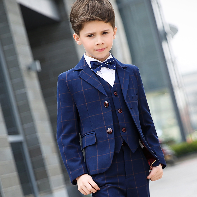 2018 (jacket + vest + pants + shirt + tie) boy suit flower girl Slim brand fashion groom dress wedding blue suit jacket t016 new fashion boy suit jacket children show host children s piano vest suit t shirt vest pants bow tie boy blazer suit