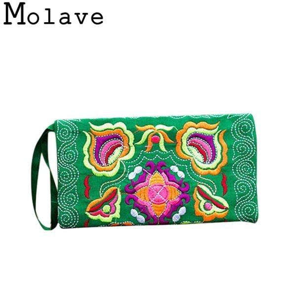 Molave Vintage Purse Clutch-Bag Wristlet Ethnic Embroidered Wallets Holders Handmade