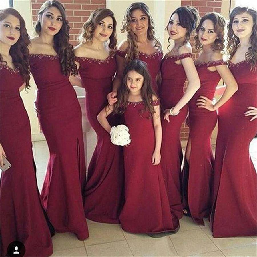 Burgundy Mermaid   Bridesmaid     Dresses   2019 Boat Neck Off The Shoulder Side Split Floor Length Long Wedding Party Gowns Custom Made