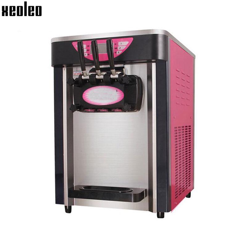 Xeoleo 3 flavors Ice cream machine Commercial Soft Ice cream maker 18L/h Blue/Yellow/Pink 1HP Yogurt ice cream 2000W R22 xeoleo single flavor ice cream maker soft ice cream machine 18l h 220v 50hz r22 commercial yogurt machine