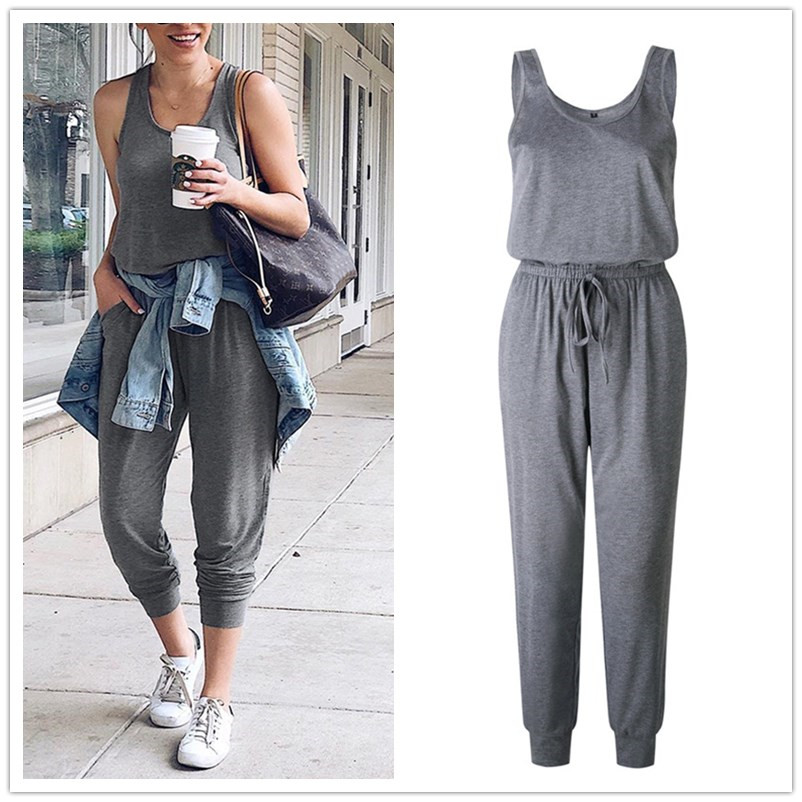 New Arrival Sexy Off Shoulder Sleeveless Lace Up Belts Jumpsuits Summer Women Solid Casual Pockets Long Rompers Women Jumpsuits