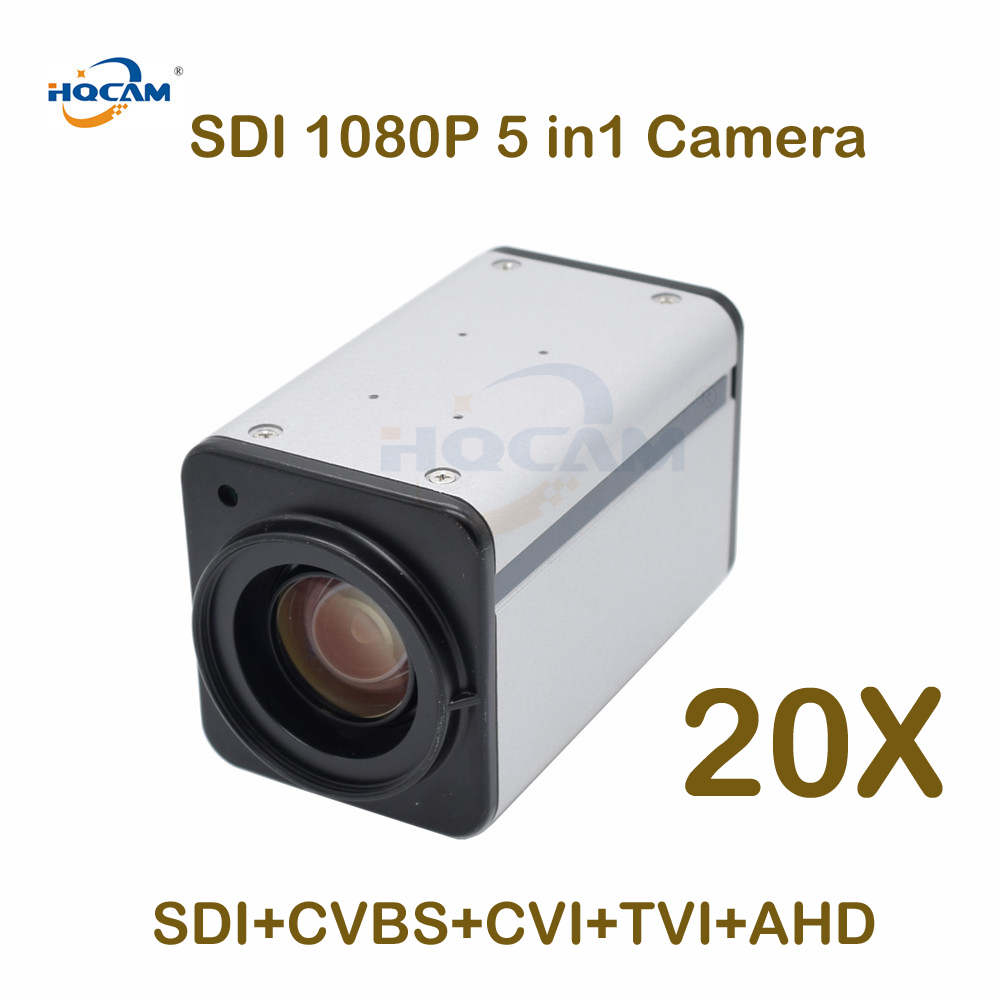 "HQCAM 20X Auto Focus Zoom 1080P SDI Camera SDI+CVBS/AHD/TVI/CVI 5in1 BOX SDI BOX Camera  2.0MP 1/3"" Panasonic CMOS Sensor Digita"