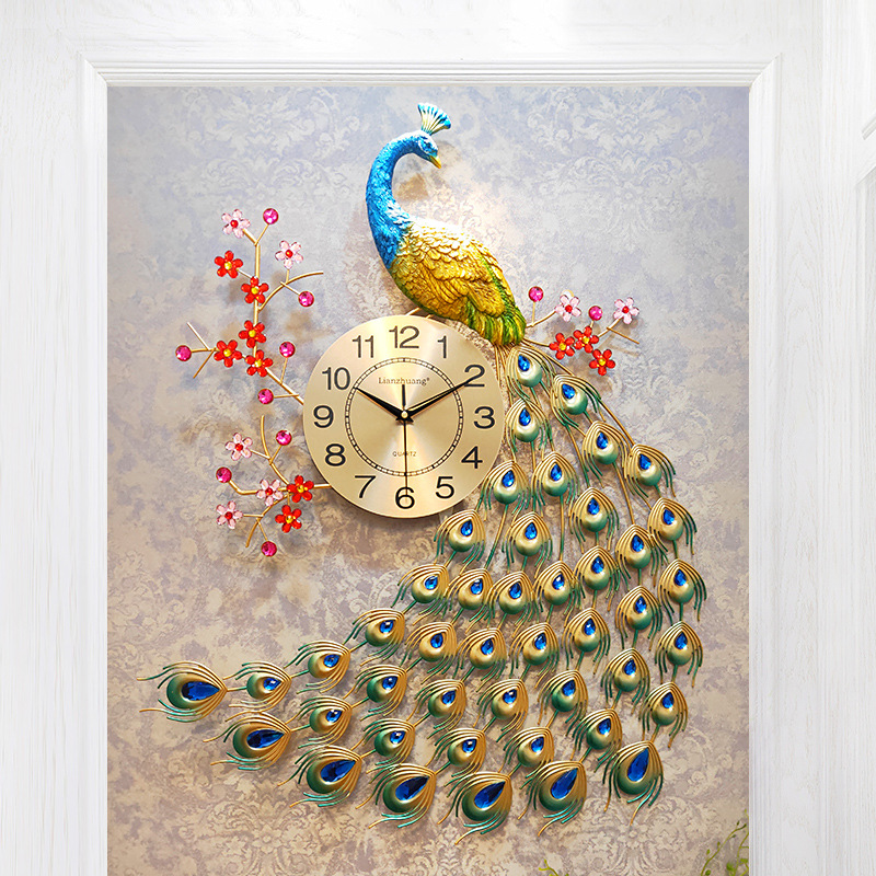 Nordic Modern Home Living Room Wall Clock Creative 3Ddiy Peacock Mute Clock Reloj De Pared Fashion Decorative Quartz Clock Heat