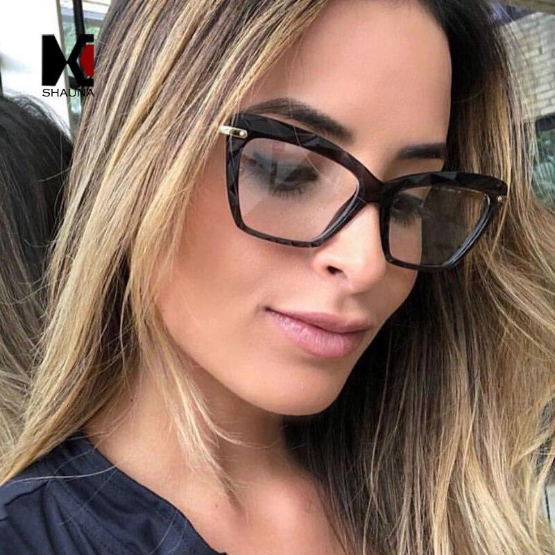 SHAUNA Frühling Scharnier Einzigartige Faceted Brillen Rahmen Frauen Transparent Cat Eye Brille UV400