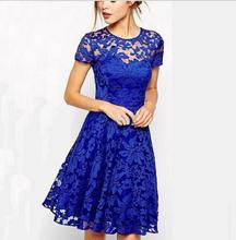 2016 summer Hot Sell beautiful woman dress Round collar short sleeve lace girls dress 3color girls blue dress
