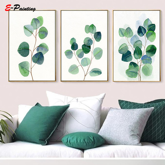 Modern Wall Art Eucalyptus Green Leaves Print Botanical Watercolor Canvas Painting Poster Nordic Living Room Home Decor