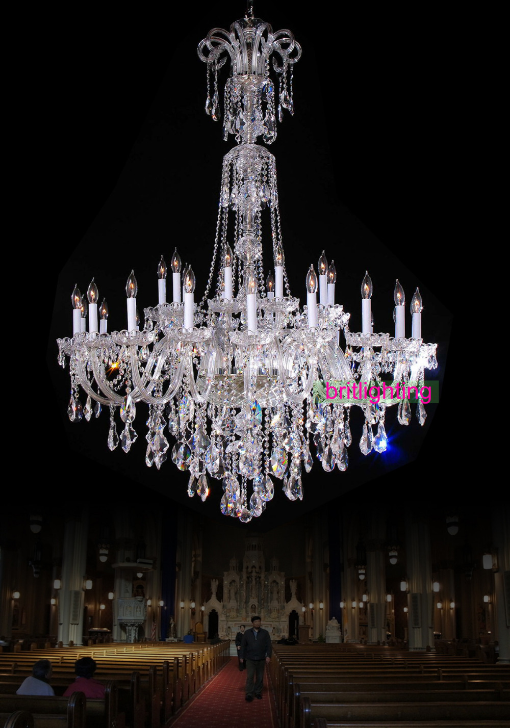 Large chandelier with crystal pendants big lamp for hotel extra large chandelier with crystal pendants big lamp for hotel extra large crystal chandeliers for church modern hanging chandelier in chandeliers from lights arubaitofo Image collections
