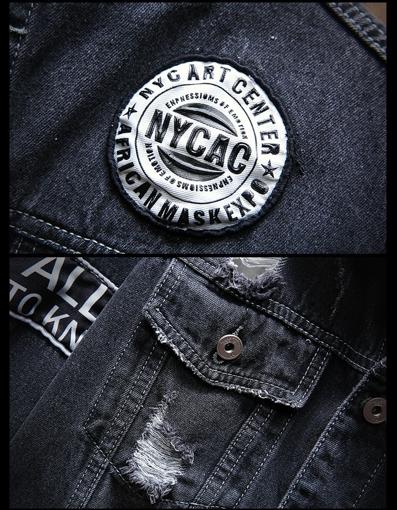 HTB1eY.TbdfvK1RjSspfq6zzXFXaS Mens Jackets And Coats Black Holes Denim Coats New Fashion Men Spring Autumn Loose Casual Jean Jackets Outwear Denim Jackets