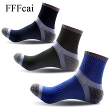 FFFcai 3 Pairs New Men Male Outdoor Athletic Sports Football Basketball Hiking Running Cycling Trekking Socks High Quality Meias