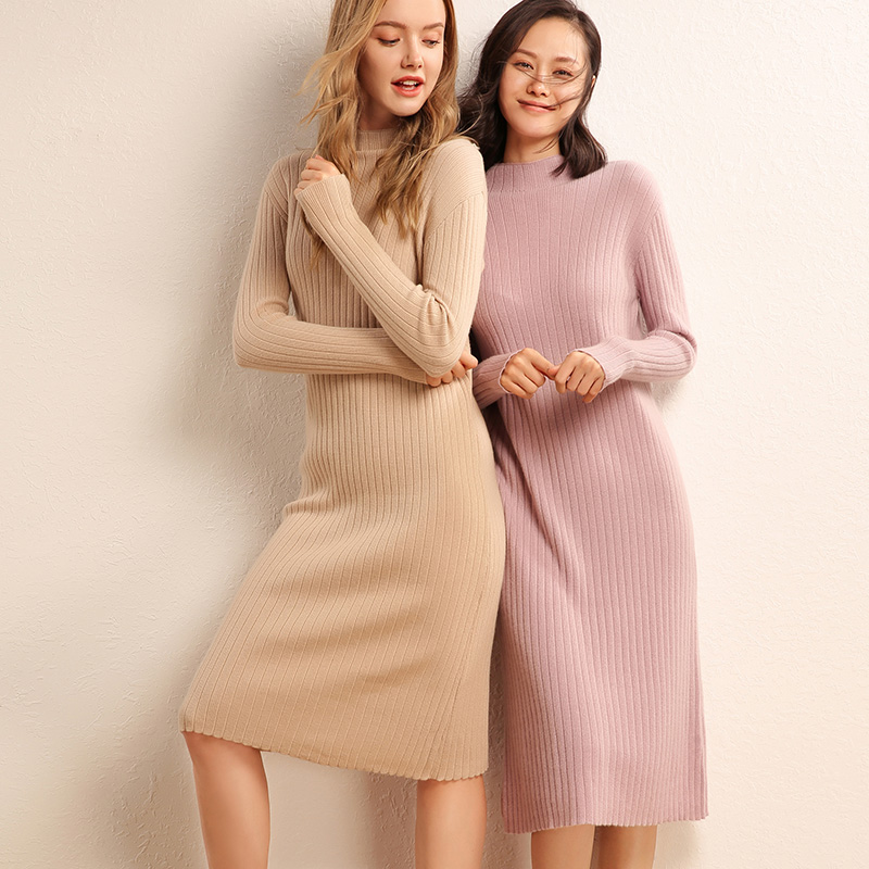 1dc593147 ... adohon 2018 womens Winter Cashmere sweaters and auntmun women knitted  Dresses Pullovers High Quality Warm Pleated ...
