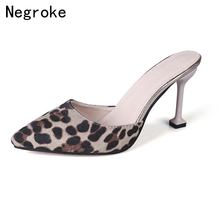 Sexy Leopard High Heels Mules Women Slippers Slip On Wedding Shoes Woman Pointed Toe Loafers Stiletto Sandals Sapato Feminino безгодов а м шахматный тест учебник для всех уровней мастерства