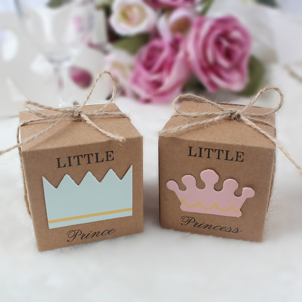 OurWarm 10Pcs Kraft Paper Candy Box Birthday Party Gift Box Little Prince Princess Party Favors Boxes for Baby Shower Decoration
