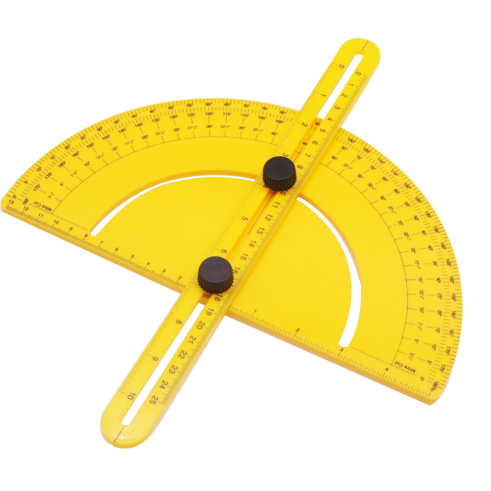 1 Pcs 180 Degree Yellow Semicircle Ruler Multifunctional Protractor Woodworking Ruler Foldable Worker Student Architect Engineer