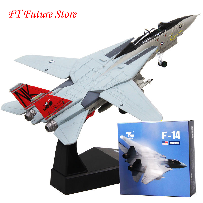 Collectible 1/100 Scale Grumman F-14 Tomcat Diecast U.S. Navy <font><b>Aircraft</b></font> Airplane Fighter Toy <font><b>Model</b></font> for Children Kids Fans Gifts image